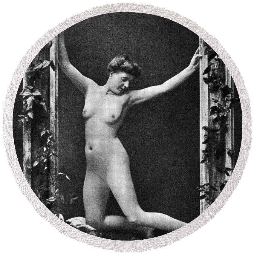 1900 Round Beach Towel featuring the photograph Nude Posing, C1900 by Granger