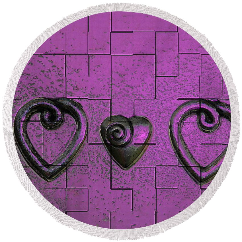Abstracts Pink Purple Round Beach Towel featuring the photograph 3 Of Hearts by Linda Sannuti