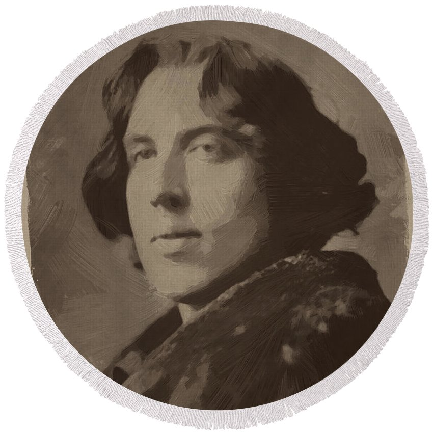 Oscar Wilde Round Beach Towel featuring the painting Oscar Wilde 2 by Afterdarkness