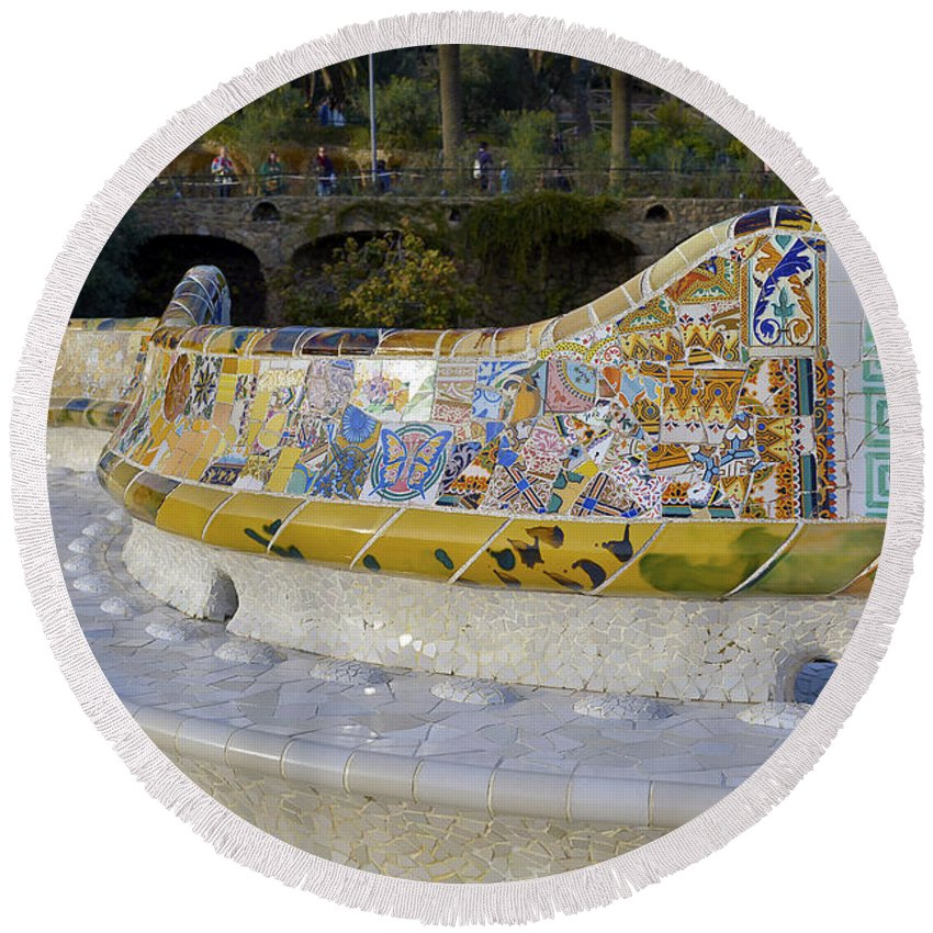 Arc Round Beach Towel featuring the photograph Park Guell by Svetlana Sewell