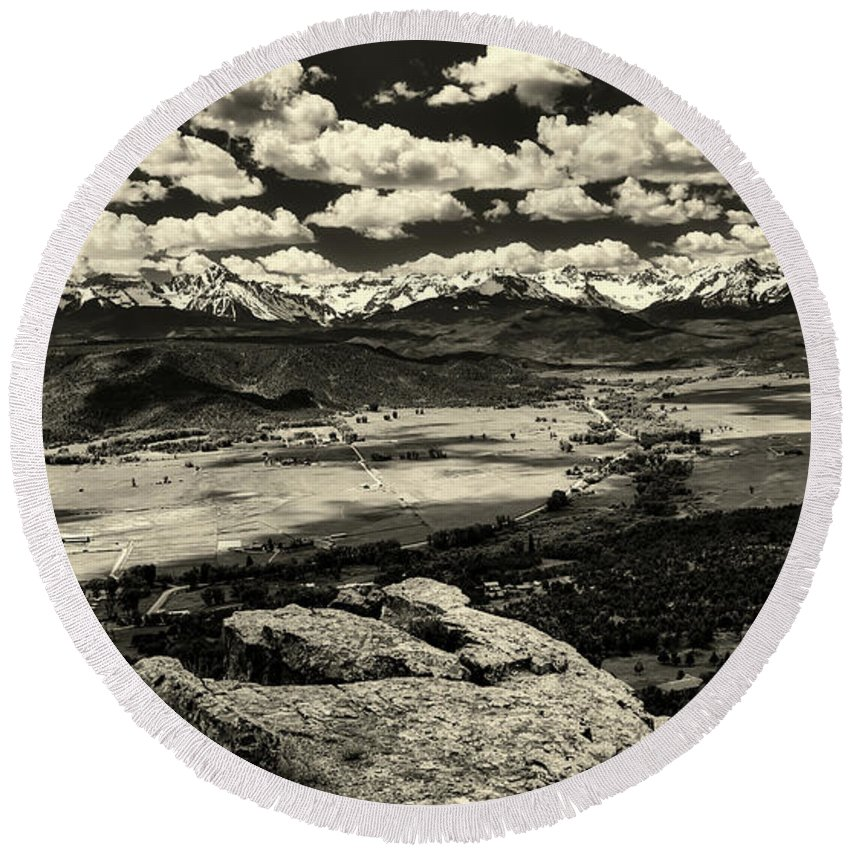 Pleasant Valley Round Beach Towel featuring the photograph Pleasant Valley Colorado by Mountain Dreams