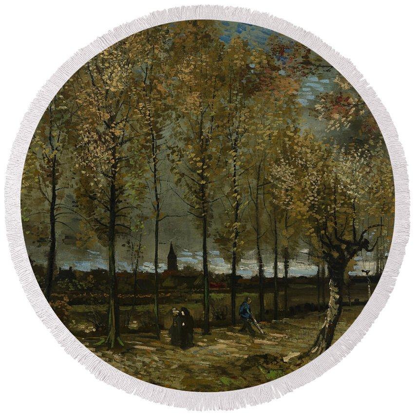 Van Gogh Round Beach Towel featuring the photograph Poplars Near Nuenen by Vincent van Gogh