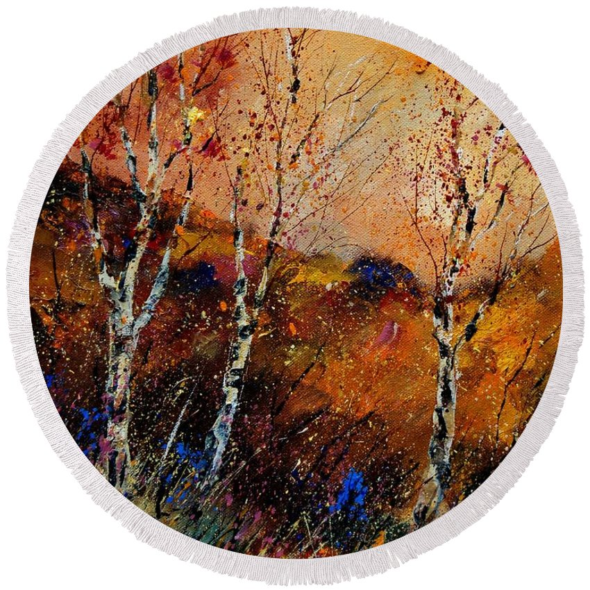 River Round Beach Towel featuring the painting 3 Poplars by Pol Ledent