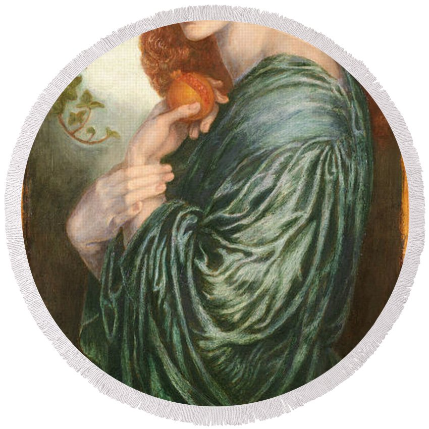Dante Gabriel Rossetti Round Beach Towel featuring the painting Proserpine by Dante Gabriel Rossetti