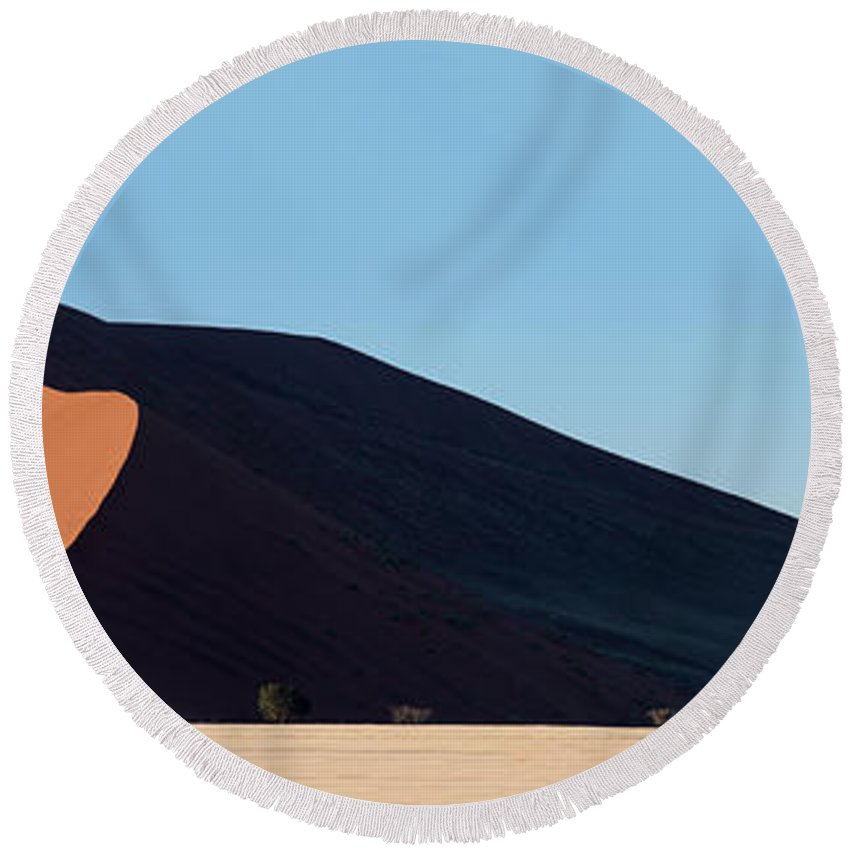 Photography Round Beach Towel featuring the photograph Red Dunes, Sossusvlei, Namib Desert by Panoramic Images