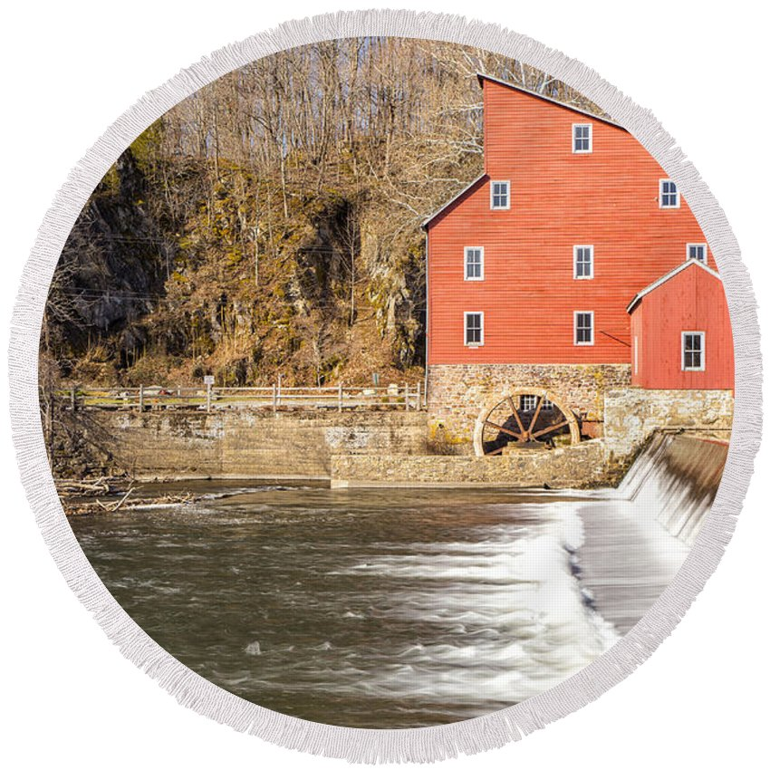 Mill Round Beach Towel featuring the photograph Red Mill by Paul Fell