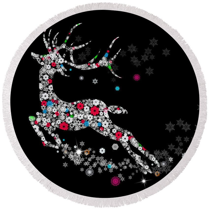 Animal Round Beach Towel featuring the digital art Reindeer Design By Snowflakes by Setsiri Silapasuwanchai
