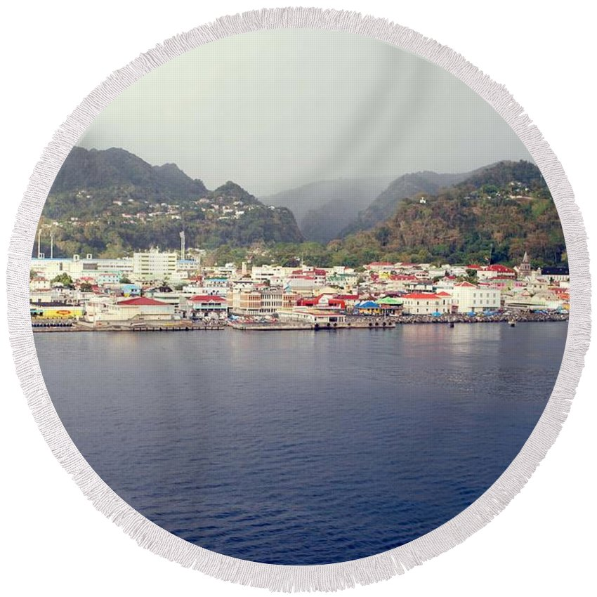 Dominica Round Beach Towel featuring the photograph Roseau Dominica by Gary Wonning