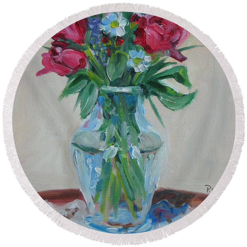 Roses Round Beach Towel featuring the painting 3 Roses by Paul Walsh
