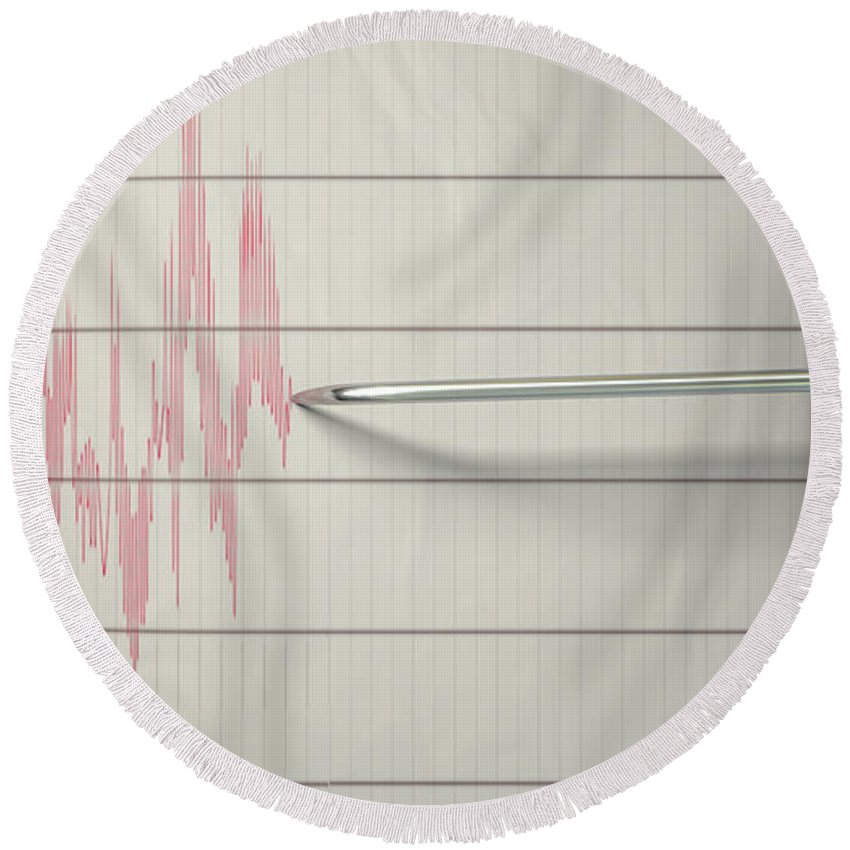 Seismic Round Beach Towel featuring the digital art Seismograph Earthquake Activity by Allan Swart