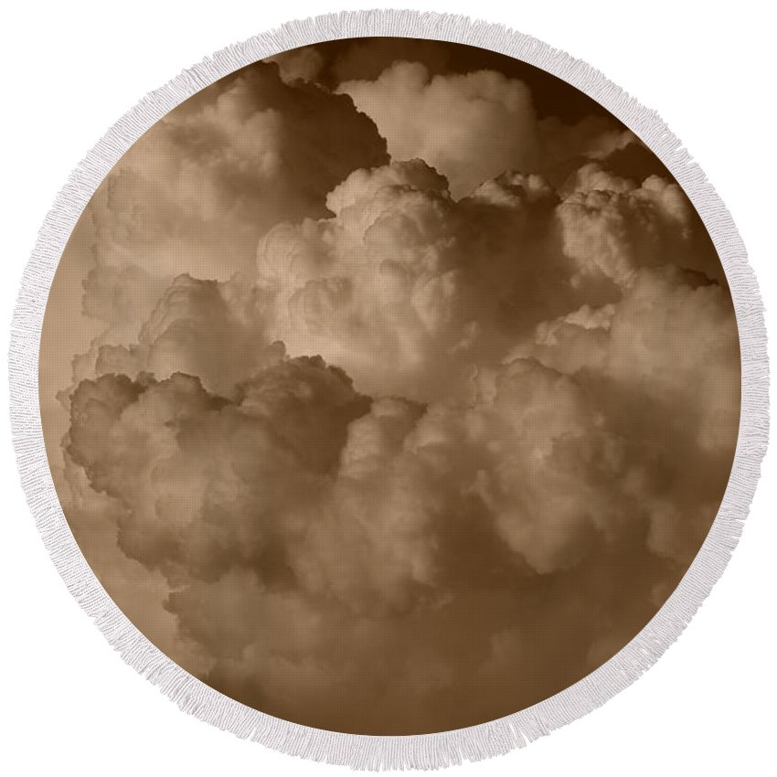 Sepia Round Beach Towel featuring the photograph Sepia Clouds by Rob Hans