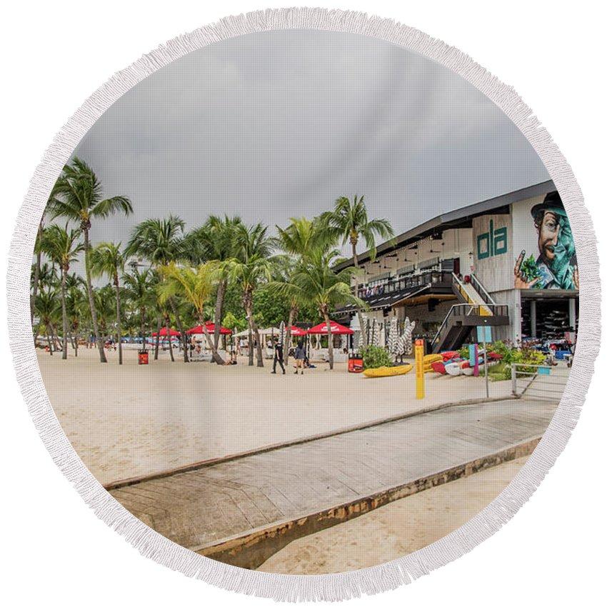Siloso Round Beach Towel featuring the photograph Siloso Beach by David Rolt
