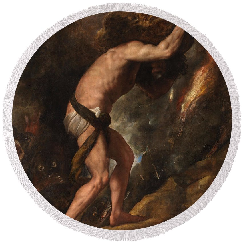 Corinth Round Beach Towel featuring the painting Sisyphus by Titian