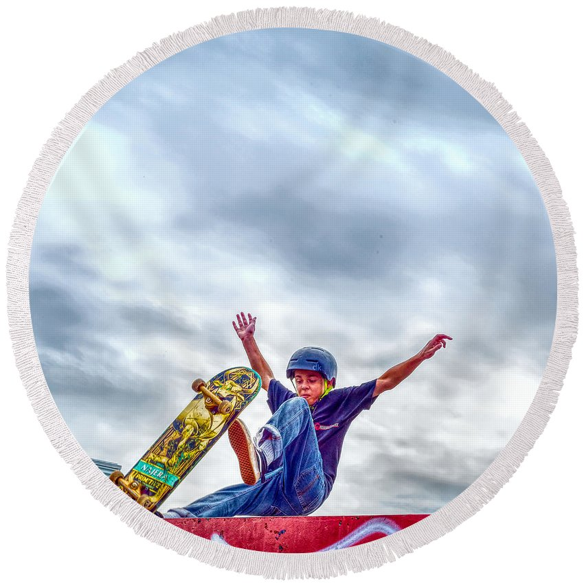 Skate Park Day Round Beach Towel featuring the photograph skate park day, Skateboarder Boy In Skate Park, Scooter Boy, In, Skate Park by Jean-Yves Salou