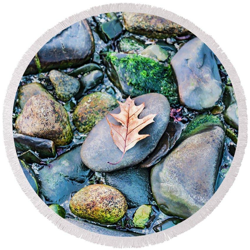 Beach Round Beach Towel featuring the photograph Small Rocks On The Beach by Enrico Della Pietra