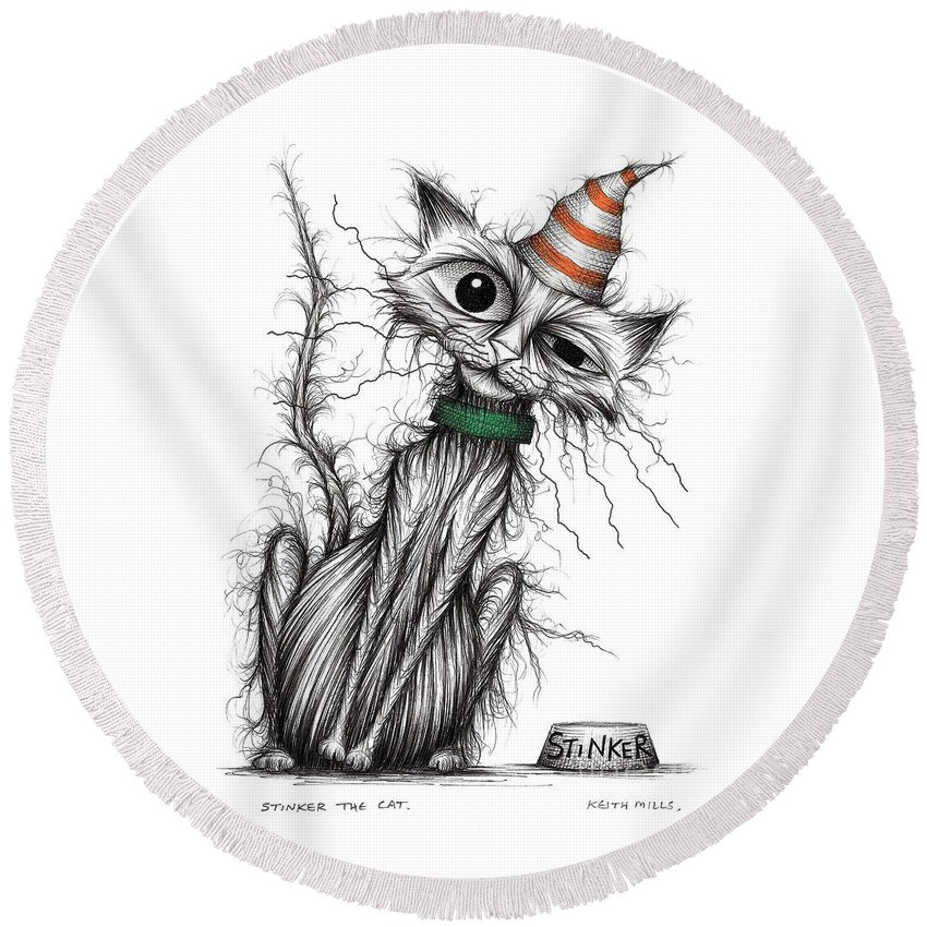 Stinker Round Beach Towel featuring the drawing Stinker The Cat by Keith Mills