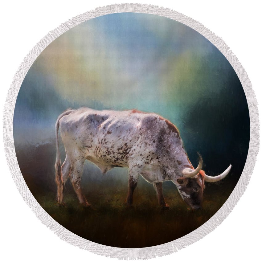 Animals Round Beach Towel featuring the photograph Texas Longhorn Steer by David and Carol Kelly