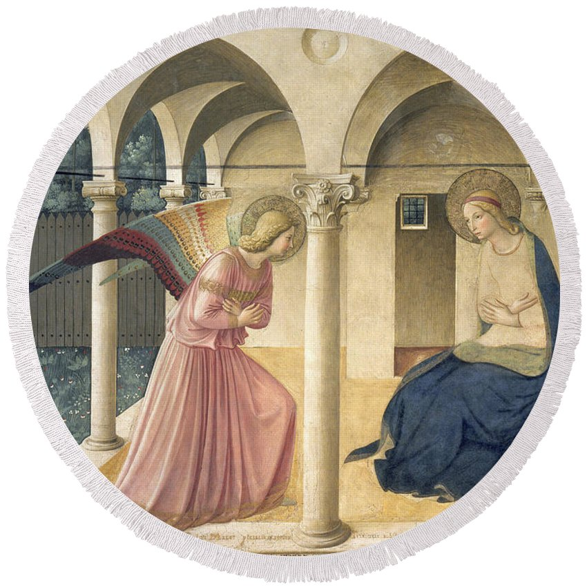 Angel Round Beach Towel featuring the painting The Annunciation by Fra Angelico