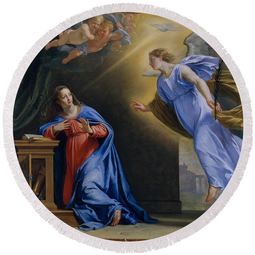 Philippe De Champaigne The Annunciation Round Beach Towel featuring the painting The Annunciation by Philippe de Champaigne