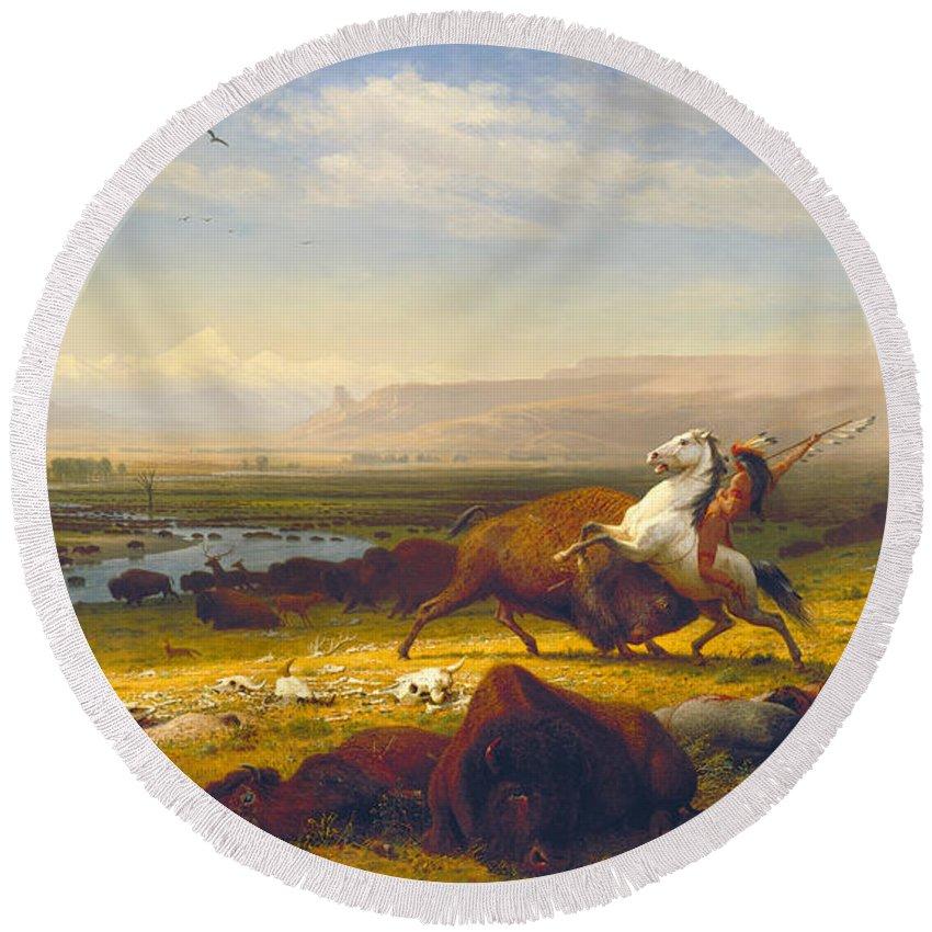 The Last Of The Buffalo Round Beach Towel featuring the painting The Last Of The Buffalo by Albert Bierstadt