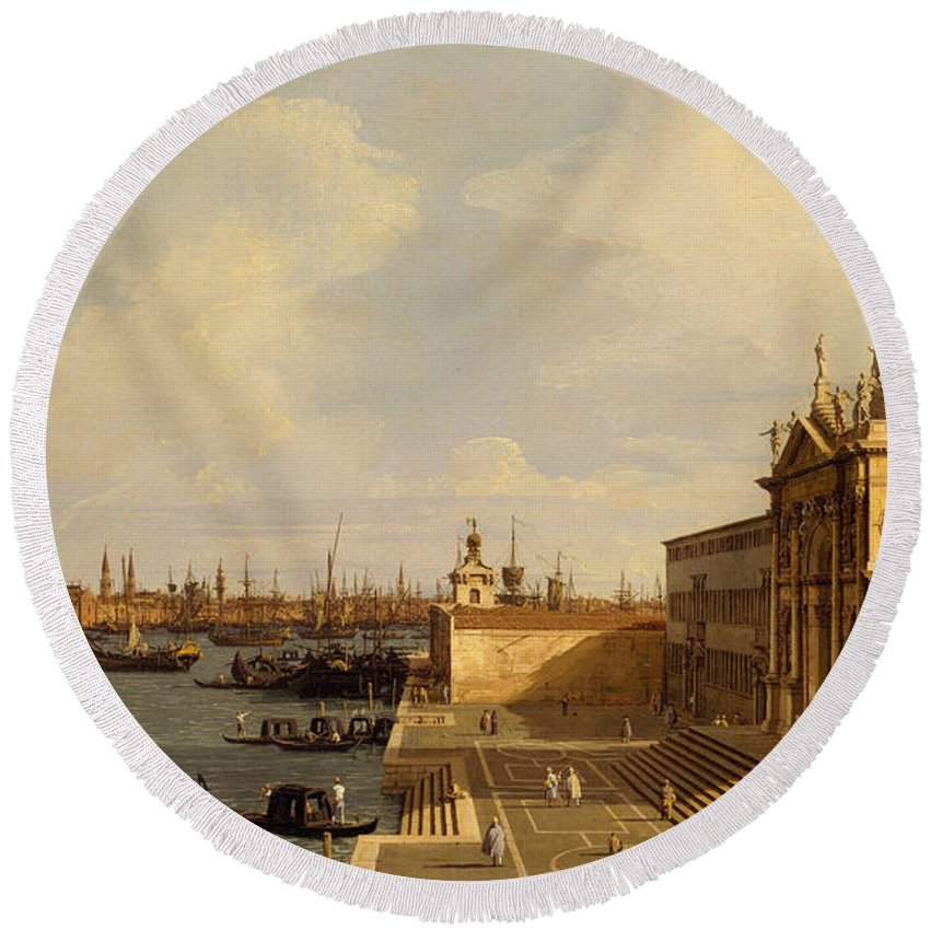 Canaletto Round Beach Towel featuring the painting Venice Santa Maria Della Salute by Canaletto