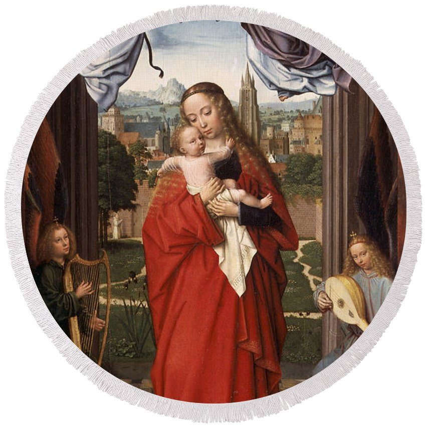 Angel Round Beach Towel featuring the painting Virgin And Child With Four Angels by Gerard David