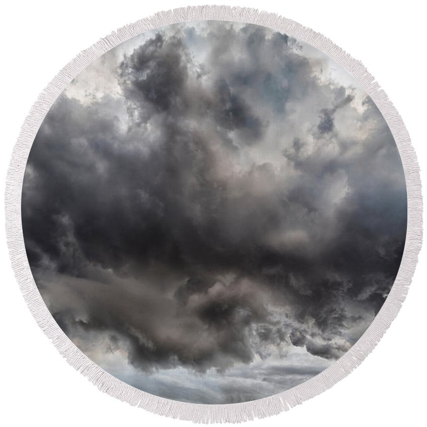 Photography Round Beach Towel featuring the photograph Volcanic Plumes With Poisonous Gases by Panoramic Images