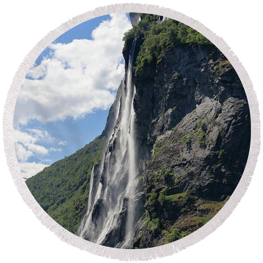 Waterfall Round Beach Towel featuring the photograph Waterfall In Geiranger Norway by Arild Lilleboe