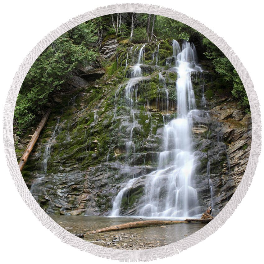 Waterfall Round Beach Towel featuring the photograph Waterfall, Quebec by Ted Kinsman