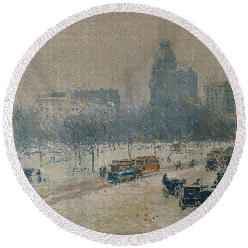 Childe Hassam Round Beach Towel featuring the painting Winter In Union Square by Childe Hassam
