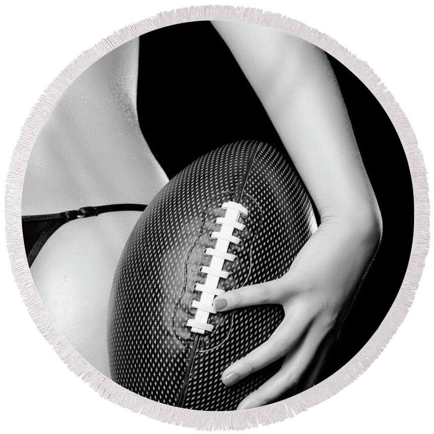 Football Round Beach Towel featuring the photograph Woman With A Football by Maxim Images Prints