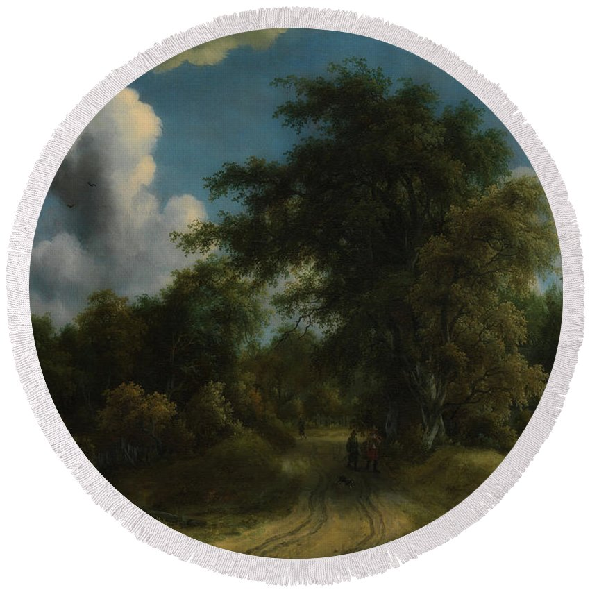 Painting Round Beach Towel featuring the painting Woodland Road by Meyndert Hobbema