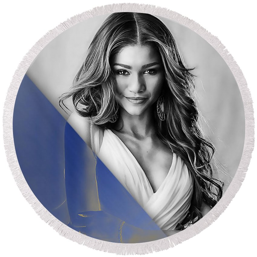 Zendaya Round Beach Towel featuring the mixed media Zendaya Collection by Marvin Blaine