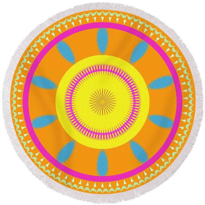 Mandala Round Beach Towel featuring the digital art Mandala Ornament by Miroslav Nemecek