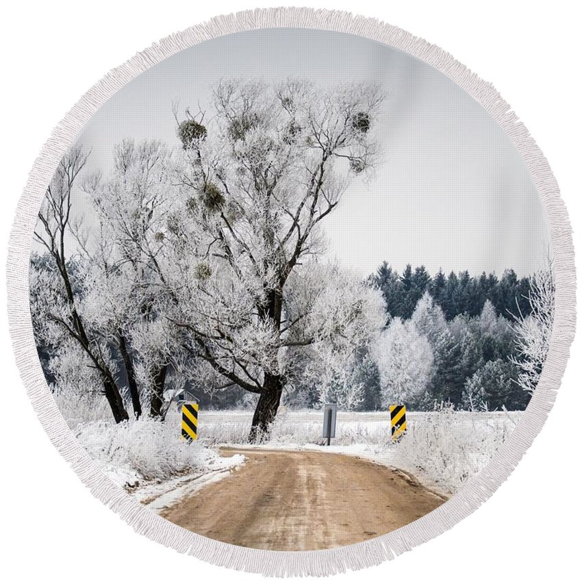 Winter Round Beach Towel featuring the photograph Winter Scene by FL collection