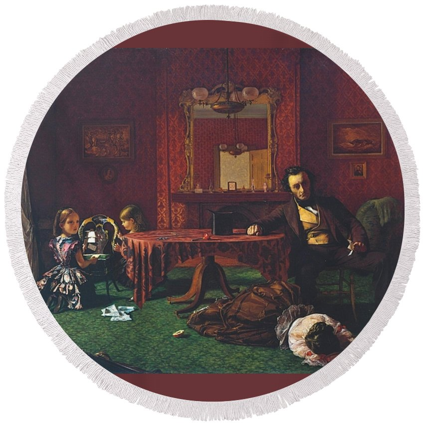 Augustus Leopold Egg 1816–1863 Round Beach Towel featuring the painting Past And Present by MotionAge Designs