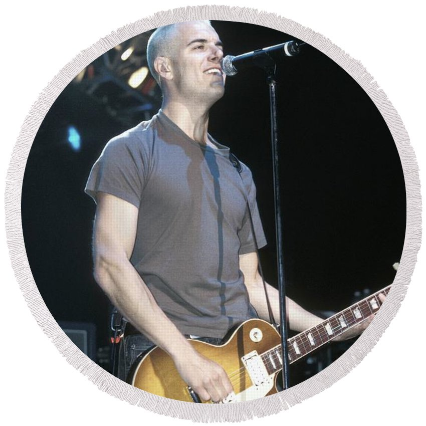 Guitarist Round Beach Towel featuring the photograph 311 - Nick Hexum by Concert Photos
