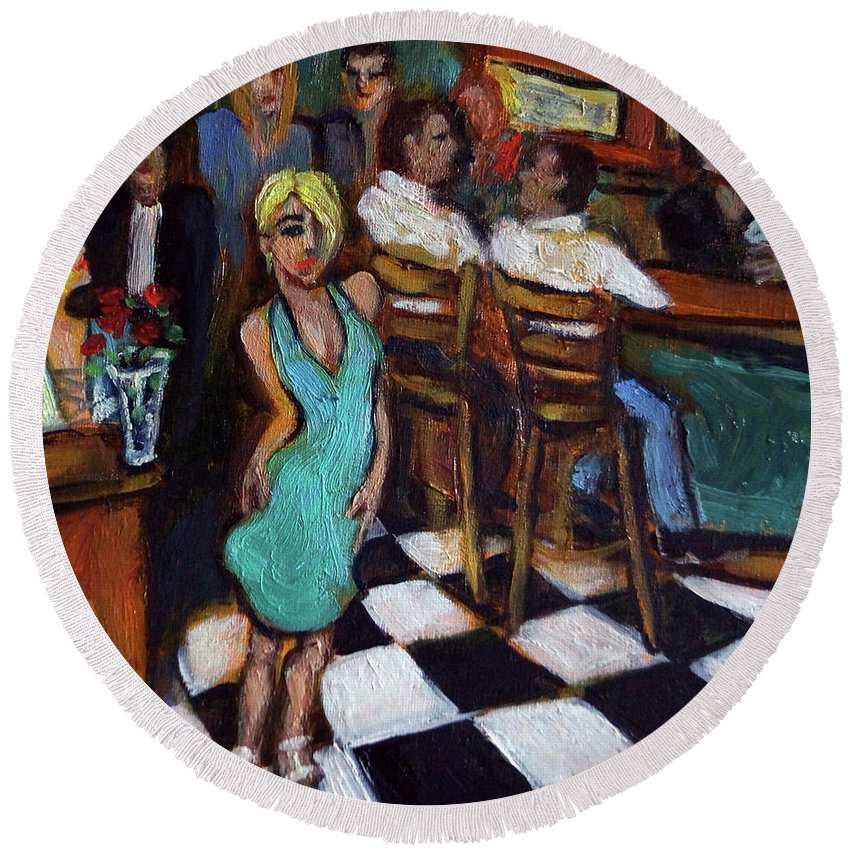 Restaurant Round Beach Towel featuring the painting 32 East by Valerie Vescovi