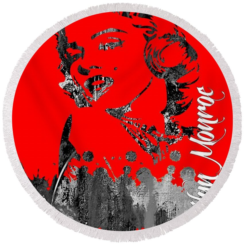 Marilyn Monroe Round Beach Towel featuring the mixed media Marilyn Monroe Collection by Marvin Blaine