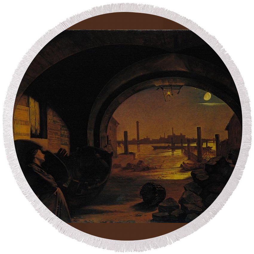 Augustus Leopold Egg Round Beach Towel featuring the painting Past And Present by MotionAge Designs