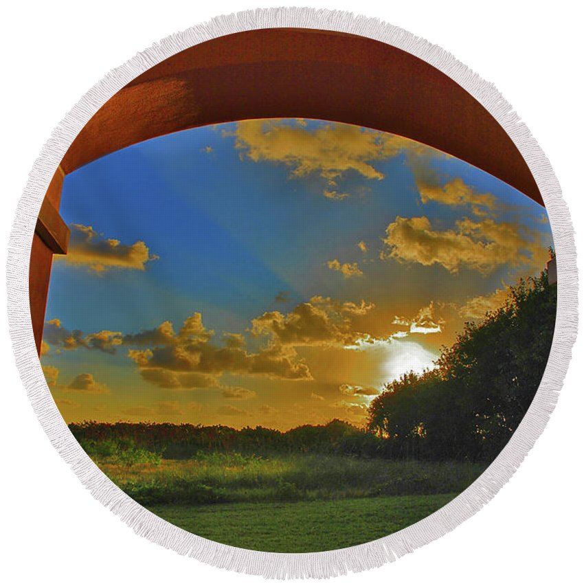 Sunrise Round Beach Towel featuring the photograph 33- Window To Paradise by Joseph Keane