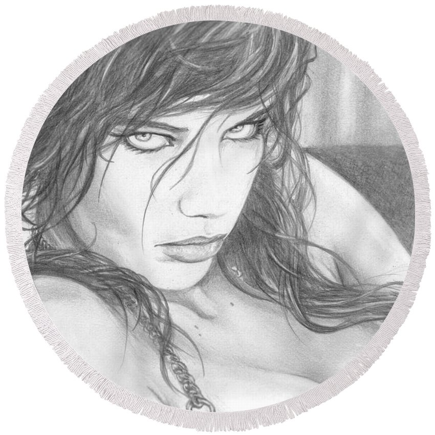 #adrianalima Round Beach Towel featuring the drawing Pout by Kristopher VonKaufman