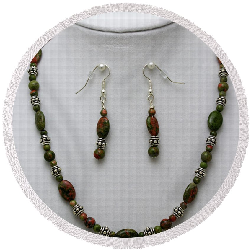 Handmade Round Beach Towel featuring the jewelry 3525 Unakite Necklace And Earring Set by Teresa Mucha