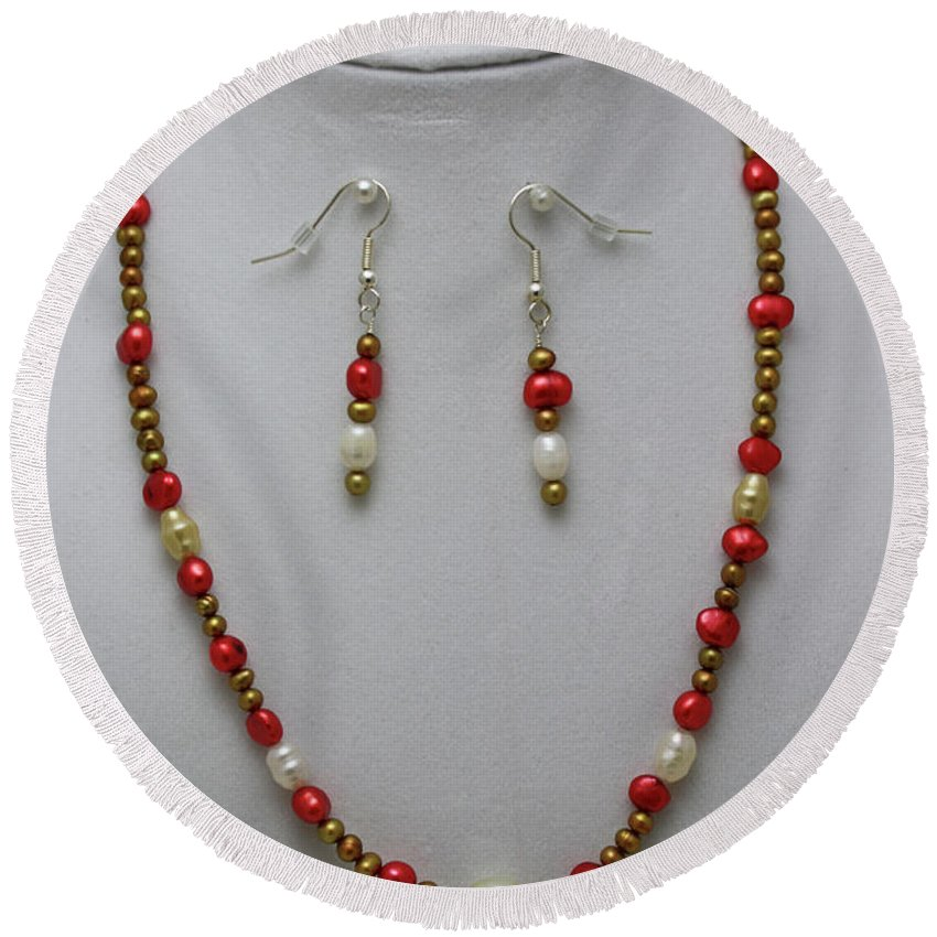 Original Round Beach Towel featuring the jewelry 3539 Pearl Necklace And Earring Set by Teresa Mucha