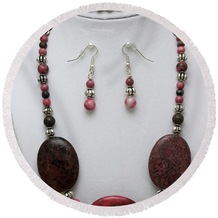 Handmade Round Beach Towel featuring the jewelry 3544 Rhodonite Necklace Bracelet And Earring Set by Teresa Mucha