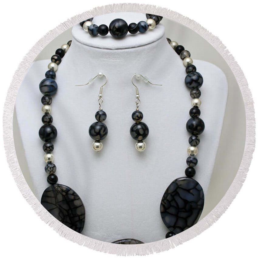 Handmade Round Beach Towel featuring the jewelry 3548 Cracked Agate Necklace Bracelet And Earrings Set by Teresa Mucha