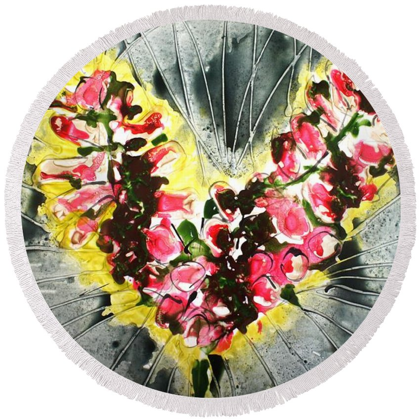 Flowers Round Beach Towel featuring the painting Divine Blooms by Baljit Chadha