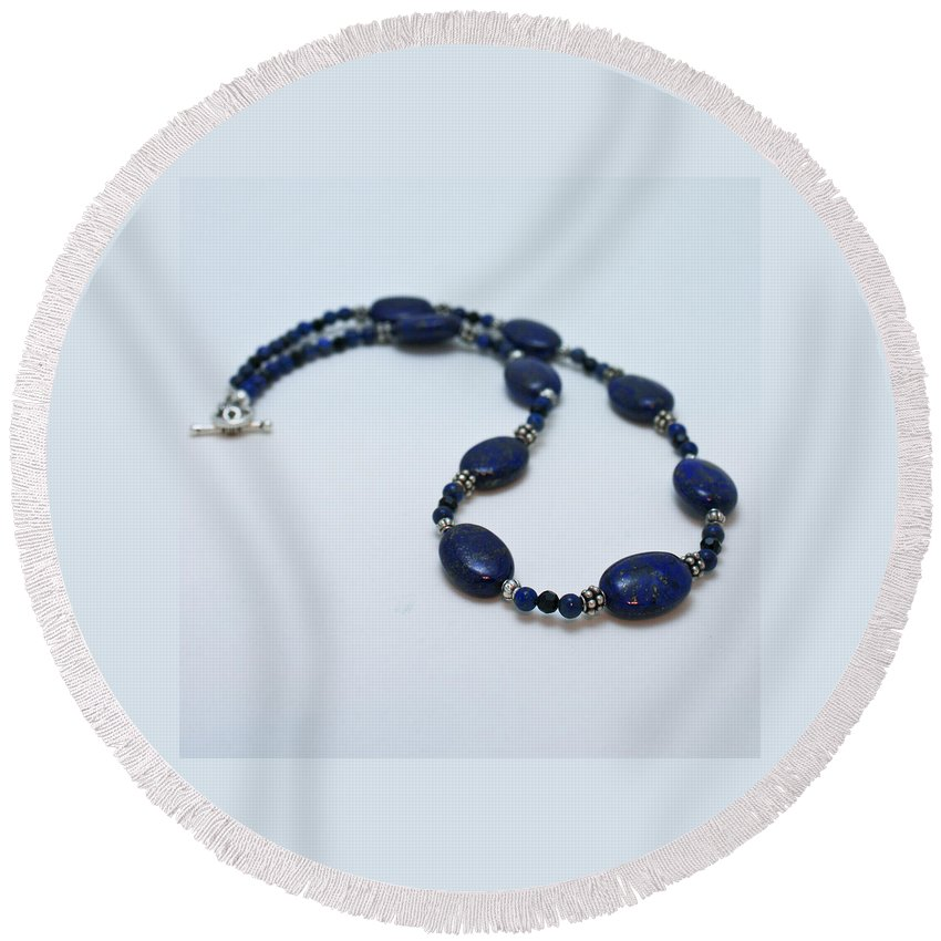 Homemade Round Beach Towel featuring the jewelry 3553 Lapis Lazuli Necklace And Earrings Set by Teresa Mucha