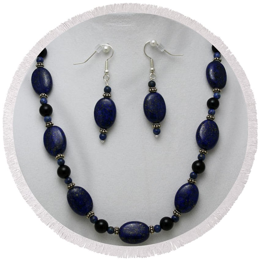 Handmade Round Beach Towel featuring the jewelry 3555 Lapis Lazuli Necklace And Earring Set by Teresa Mucha