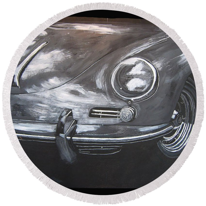 Car Round Beach Towel featuring the painting 356 Porsche Front by Richard Le Page